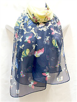 Navy with Butterflies Scarf