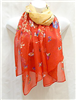 Orange and Red Butterfly Scarf