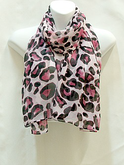 Pink and Black Leopard Scarf