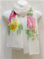 Pink, Blue and Yellow Flowers Scarf