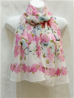 Pink Flowers Blue Butterflies White Scarf