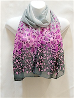 Purple and Grey Leopard Scarf