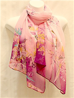 Pink With Blue Birds Scarf