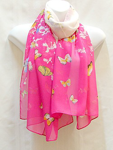 Pink with Yellow and Blue Butterflies Scarf