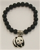 SBLB-Lava Bead Stretch Bracelet With Panda Charm