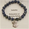 SBS-Stone Bracelet in Sodalite With a Angel Charm