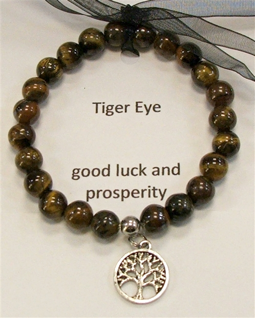 SBTE-Stretch Bracelet in Tiger Eye with Tree of Life Pendant