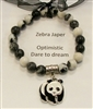 SBZ-Stretch Bracelet in Zebra Jasper Beads with Panda Charm