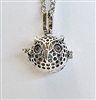 Small Owl Lava Bead Cage Pendant Necklace