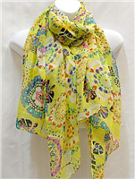 Yellow with Butterflies and Circles Scarf