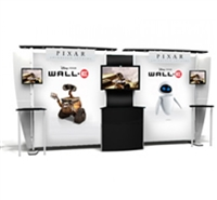 "20'X20' MODULAR DISPLAY - X2 6 LIGHT CANOPY, 1 ENCLOSED COUNTER, 68""X83"" FABRIC GRAPHIC"