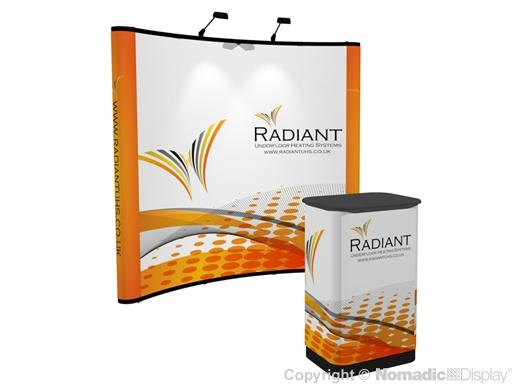 8ft (3x3) Nomadic Instand Pop Up Trade Show Display Curved Backwall Exhibit