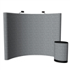 10ft Curved Velcro Fabric Pop Up Display with Podium Display -Silver | Trade Show Display Depot
