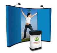 10ft Fabric Curved Pop Up Display with Two Center Graphic Panels