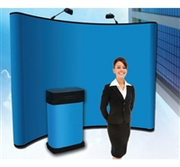 10' (4x3) Velcro Receptive Fabric Display with LED lights and Convention Podium Stand