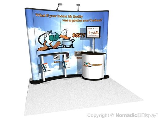 Nomadic Instand 10ft (4x3) Pop Up Display with Trade Show Graphics and Podium Banner | Trade Show Display Depot