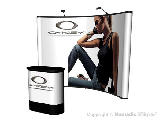 10x10 (10ft) Instand Curved Pop Up Display Booth and Podium Exhibit | Trade Show Display Depot