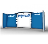 "10'X20' MODULAR DISPLAY - 4 LIGHT CANOPY, 1 ENCLOSED COUNTER, 68""X83"" FABRIC GRAPHIC"