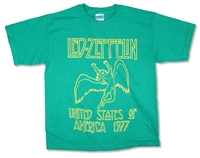 Led Zeppelin Yellow Outline USA 1977 on Kelly Green Tee