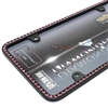 Pink Diamond Bling Crystals Black License Plate Tag Frame for Auto-Car-Truck