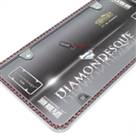 Pink Diamond Bling Crystals Chrome License Plate Tag Frame for Auto-Car-Truck