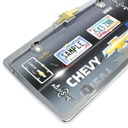 Chevrolet Bowtie Logo Chrome License Plate Tag Frame for Auto-Car-Truck
