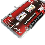 Dodge Chrome-Black-Red Stripes License Plate Tag Frame for Auto-Car-Truck