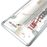Chrome Plastic License Plate Tag Frame + Clear Tough Shield Cover for Car-Truck