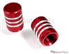 Red Aluminum Chrome Stripes Tire Valve Stem Caps