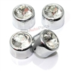 4 Chrome Diamond Bling License Plate Fastener Screw Bolt Caps for Car-Truck-Bike