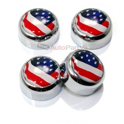 4 Chrome USA American Flag License Plate Fastener Screw Bolt Caps for Car-Bike