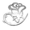 3D Chrome Rose Flower Emblem Decal Sticker