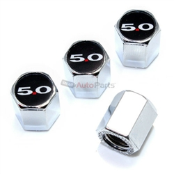 (4) Ford 5.0 Logo Chrome ABS Tire/Wheel Stem Air Valve Car Caps Covers