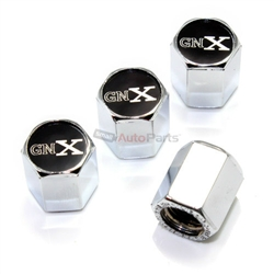 (4) Buick GNX Logo Chrome ABS Car Tire/Wheel Air Pressure Stem Valve Caps Covers