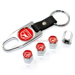 Dodge Viper Red Logo Chrome Tire/Wheel Stem Air Valve Caps +Wrench Key Chain Set