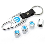 Mopar Logo Chrome Tire/Wheel Stem Air Valve Caps + Wrench Key Chain Gift Set