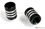 Black Aluminum Chrome Stripes Tire Valve Stem Caps