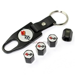 Chevy Corvette C3 Logo Black Tire/Wheel Stem Air Valve Caps+Wrench Key Chain Set