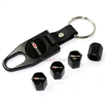 Chevy Corvette Z06 Logo Black Tire/Wheel Stem Air Valve Caps+Wrench Key Chain