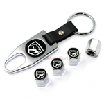 Dodge Viper Black Old Logo Chrome Tire/Wheel Stem Valve Caps + Wrench Key Chain