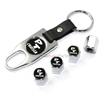 Chrysler PT Cruiser Logo Chrome Tire/Wheel Stem Valve Caps + Wrench Key Chain