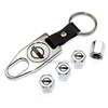 Chevy Corvette C4 Logo Chrome Tire/Wheel Stem Air Valve Caps+Wrench Key Chain