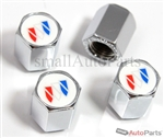 Buick White Logo Chrome ABS Tire Valve Stem Caps