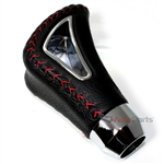 Universal Black Genuine Leather Red Stitch Shift Knob for Car-Truck-Hotrod Gear