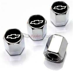 Chevy Silver Bowtie Logo Chrome ABS Tire Valve Stem Caps