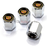 Cadillac Gold Logo Chrome ABS Tire Valve Stem Caps