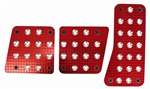 Premium Red Machined Billet Aluminum 3 Foot Pedals Pads for Car/Truck Manual