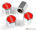Lincoln Red Logo Chrome ABS Tire Valve Stem Caps