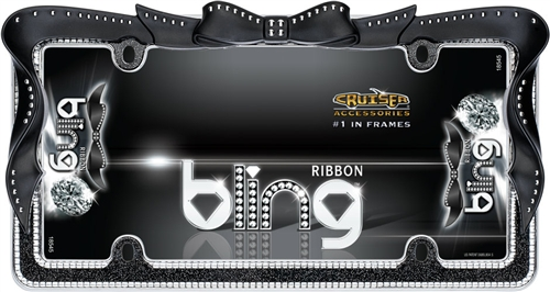 Chrome Black Ribbon Girl Dress Bling License Plate Frame