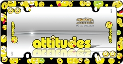 Attitudes Smile Faces Plastic License Plate Frame+Screw Caps for Car-Truck-SUV